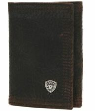 Ariat Performance Work Mens Leather Tri-Fold Wallet (Dark Brown)