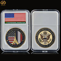 USA Collectible Gold Embassy Paris Department Of State Souvenir Challenge Coin