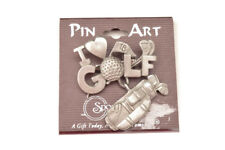 "NOC PIN ART/SPOONTIQUES PEWTER ""I LOVE GOLF"" PIN"