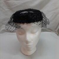 Vintage Veiled Pillbox Hat Woven Black Fiber Open Halo Top Double Layer Net Veil
