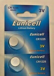 2 X EUNICELL CR1225 DL1225, ECR1225, BR1225 COIN WATCH BATTERY BATTERIES