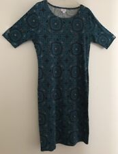 Lularoe Green With Black Geometric Pattern Dress. Short Sleeves. Size XL. EUC.