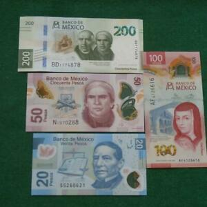 Lot of 4 Mexican notes 20,50,100 & 200  UNC Pesos Bills Currency 3 polymer