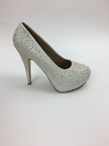 "Platform 5.5"" Women's Bridal Ivory Diamante Crystals All Over Size 9 👠"