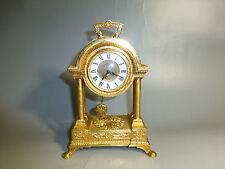ANTIQUE GERMAN GOLD GILT METAL CASE MECHANICAL CARRIAGE SWING PENDULUM CLOCK