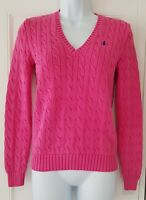 Womens Ralph Lauren Pink Cable Knit V Neck Long Sleeve Jumper Small.