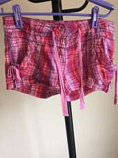 Women Shorts By George Thin Cotton Multi Color Checked Size 10 (03)