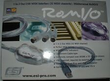 ESI ROM I/O 32 channel midi interface 1 in 2 out ROMIO PC Apple linux  ROMIO