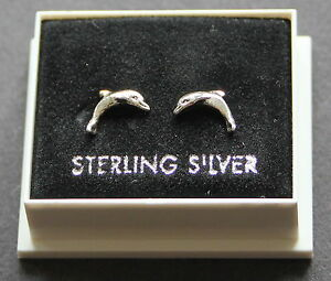 STERLING SILVER 925, DOLPHIN DESIGN STUD EARRINGS BOXED, BUTTERFLY BACKS STUD 24