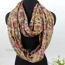 Womens Fashion Floral Shawl Paisley Print Ladies Casual Infinity Loop Cowl Scarf