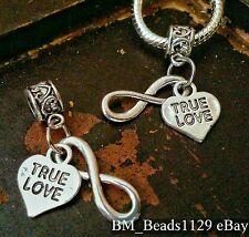 2PC True Love Heart Infinity Symbol European Double Pendant Dangle Beads Charms