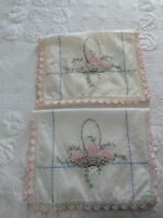 """Vintage Doily Flower Basket Hand Embroidered Crocheted Edge Set of 2, 13 x 39"""""""