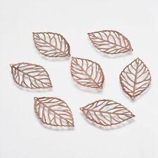 20 x Filigree Nickel Free Red Copper Iron Leaf Pendants Charms Craft 35x20x0.2mm