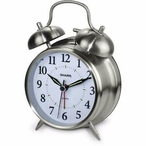 Sharp Loud Twin Bell Alarm Analog Clock With Touch Activated Back Light - Metal