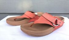 FitFlop Via Thong Sandals Flame Orange Rocker Fitness Women's Size US 8