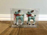 *WONDERSHOP* Target 2020 Blue Retro Deer Ornament Set Reindeer Christmas Holiday