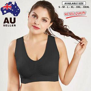 Seamless Sports Bra Crop Top Vest Stretch Comfort Style Bras Shapewear BLACK AU