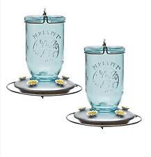 2 Perky Pet Glass Mason Jar 32 Ounce Hummingbird Nectar Feeder w/ Metal Base 785
