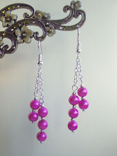 Pretty Cerise Hot Pink Glass Pearl Dangly Chain Silver Plated Drop Earrings