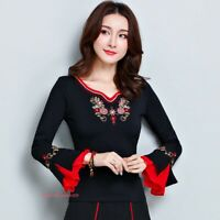 Womens Chinese Embroidery Floral Cotton T-shirt Long Sleeve Stretchy Tops Slim