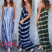 UK Womens Beach Summer Deep V Neck Tie-Dyed Sleeveless Tank Long Dress Plus Size