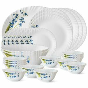 Larah Lavender Opalware Dinner Set 27-Pieces By Borosil White