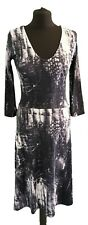 LABEL LAB BLACK GREY WHITE LONG DRESS - UK Size 10