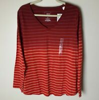 Sonoma NEW Women's Top Size 1X Long Sleeves Cotton Blend Stripes Casual Red