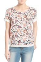 Hinge Embroidered Floral Print Top Blouse NWT Women's Size Small