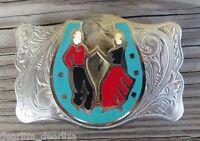 Vintage Western Nickel Silver Belt Buckle Country Horseshoe Line Dancing Rodeo