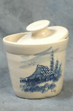 """P.R. STORIE POTTERY CO MARSHALL,TX CANNISTER/CROCK & LID 4.5""""H X 4""""W, SIGNED PTR"""