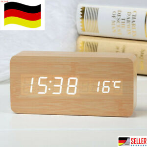 Holz LED Digital Wecker Tischuhr Temperatur Datum Snooze USB Alarm Uhren DE