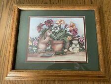Bunny Rabbit Floral Framed Water Color Print Matte Signed Laurie Koragaden