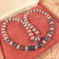 Vintage Faceted Glass Crystal Necklace-Silvertone Clasp