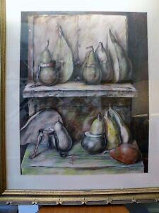 """1975 Original SAMUEL BAK Mixed Media Painting PEARS 22"""" x 29"""""""