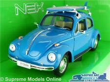 VOLKSWAGEN BEETLE CAR MODEL 1:24 SIZE BLUE SURF WELLY OPENING PARTS LARGE T3