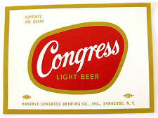 Haberle Congress Brewing Co CONGRESS LIGHT BEER label NY 32oz Gold edges