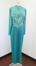 Vtg Alyce Designs Teal Green Silk Beaded Sequin Formal Party Dress Mesh 16 / L