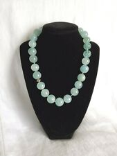 """Vintage Aquamarine  15 mm Bead Necklace with Sterling Silver Clasp 17.5"""" long"""