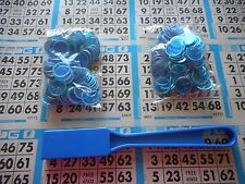 200 BLUE MAGNETIC BINGO CHIPS WITH A BLUE MAGNETIC BINGO WAND