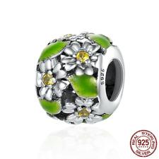 Genuine 925 sterling Green Daisy Flower Leaves Charm Beads fit European bracelet