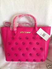 NWT Betsey Johnson Smell The Roses Tote Bag Crossbody- Fuschia $128