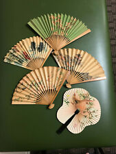 Vintage Asian Folding Paper and Bamboo Hand Fans Set of 5