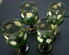 4 Vintage Smokey Stemmed Glassware with White Daisy Design