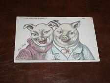 ORIGINAL XAVIER SAGER SIGNED ART NOUVEAU POSTCARD - ANTHROPOMORPHIC PIGS.