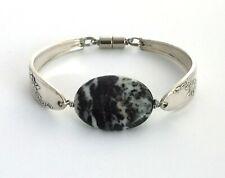 "Queen Bess 1946 spoon bracelet silverware Zebra stone black white 7 3/8"" medium"