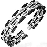 Stainless Steel Black Rubber Silver Tone Link Chain Mens Bracelet