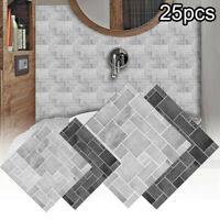 25Pcs Mosaic Tile Stickers Decor Wall Window Kitchen Bathroom Self Adhesive