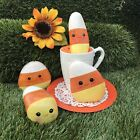 LOT OF 4 Hand Painted CANDY corn HALLOWEEN ROCKS (1)