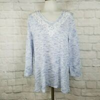 Chico's Women's Size 1 Embroidered Top Blue White
